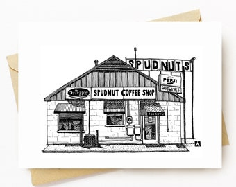 BellavanceInk: Greeting Card With Vintage Charlottesville Spudnuts Restaurant 5 x 7 Inches