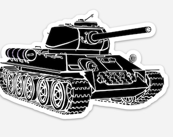 BellavanceInk: T34 World War Two Soviet Tank Vinyl Sticker Hand Drawn Illustration