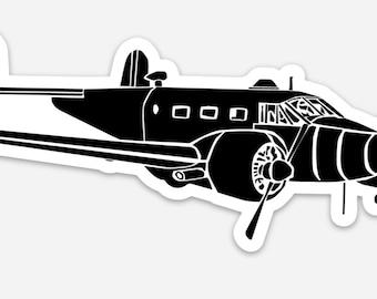 BellavanceInk: Vintage Beechcraft Model 18 Airplane Vinyl Sticker Illustration