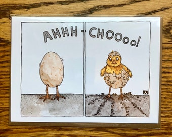 BellavanceInk: Get Well Card With Baby Chick Sneezing Out Of Her Egg Shell 5 x 7 Inches