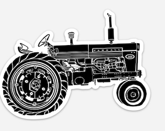 BellavanceInk: Vintage Farmall Farm Tractor Vinyl Sticker Hand Drawn Illustration