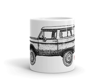 BellavanceInk: Coffee Mug With A Hand Drawn Pen & Ink Drawing Of A Vintage Bronco Truck