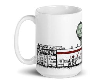 BellavanceInk: Coffee Mug With Pen & Ink Sketch Of Downtown Belmont in Charlottesville, Virginia