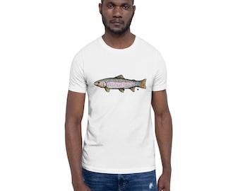 BellavanceInk: Rainbow Trout Pen & Ink Watercolor Drawing On A Short Sleeve T-Shirt