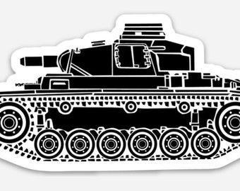 BellavanceInk: Vintage German Panzer Tank Vinyl Sticker Hand Drawn Illustration