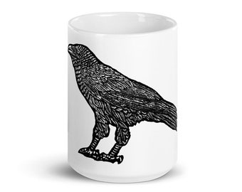 BellavanceInk: Coffee Mug With A Crow Illustration Wood Cut Style Graphic
