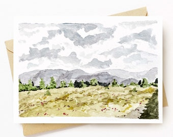 BellavanceInk: Greeting Card With Watercolor Of Mountains And Meadow in Crozet Virginia  5 x 7 Inches