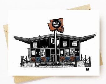 BellavanceInk: Greeting Card With A Pen & Ink Drawing Of Mel's Diner In Charlottesville Along West Main St 5 x 7 Inches