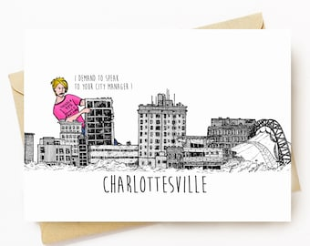 BellavanceInk: Greeting Card With A Pen & Ink Drawing Of Large Monster Karen Attacking the Abandoned Landmark Hotel  5 x 7 Inches