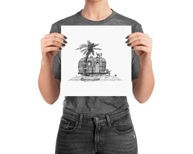 Featured listing image: BellavanceInk: Pen & Ink Print of a Vacation Trailer on a Deserted Island
