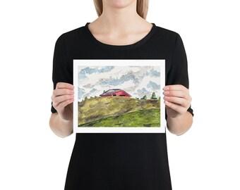 BellavanceInk: 8 x 10 Watercolor Print Of A Barn Behind The Hills In Ivy Virginia