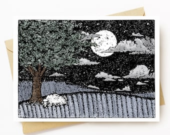 BellavanceInk: Greeting Card With Sleep Sheep Under A Midnight Moon 5 x 7 Inches