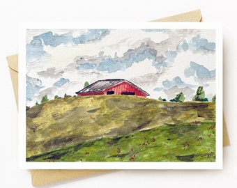 BellavanceInk: Greeting Card With Watercolor Of Barn Behind Hills in Ivy Virginia  5 x 7 Inches