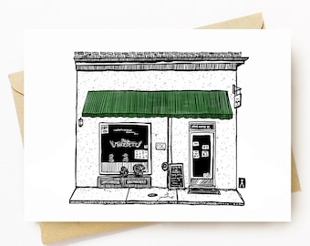 BellavanceInk: Greeting Card With A Pen & Ink Drawing Of MarieBette Petite Bakery in Charlottesville Virginia  5 x 7 Inches