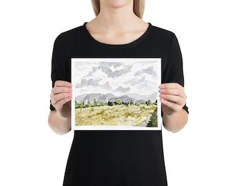 BellavanceInk: 8 x 10 Watercolor Print Of The Mountains And Meadow in Crozet Virginia