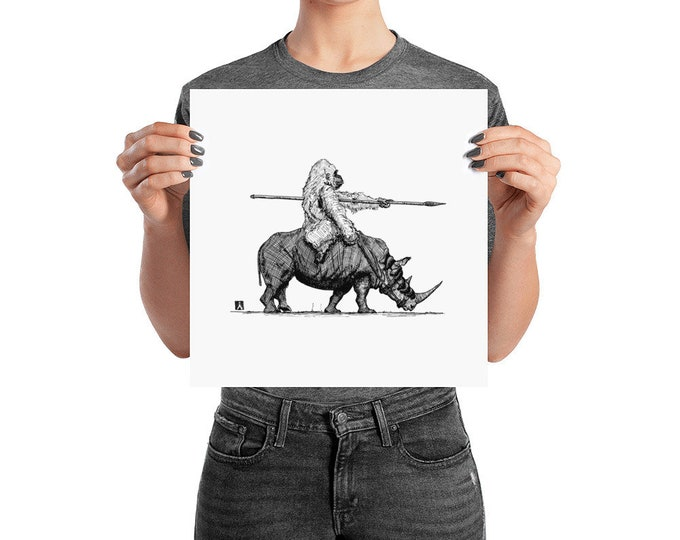 Featured listing image: BellavanceInk: Pen & Ink Drawing of Gorilla Riding a War Rhino Print