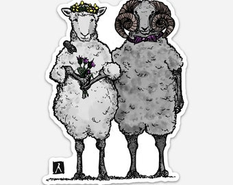 BellavanceInk: Two Sheep Getting Married Pen And Ink Illustration On A Vinyl Sticker