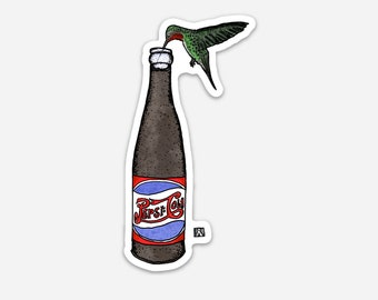 BellavanceInk: Hummingbird Sipping From A Bottle Of Soda Vinyl Sticker Illustration