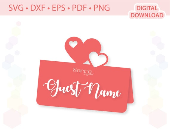 Hearts Place card Name card Guest name card  template .svg .dxf .eps .pdf .png
