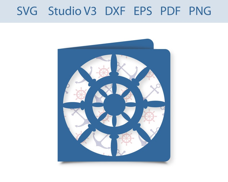Ship steering wheel Greeting Card Ship steering wheel Invitation cut file SVG Studio V3 Silhouette EPS PDF