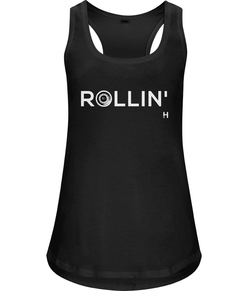 Organic cotton black rollin/' racerback vest by HIIT like a girl Perfect for roller derby or skateboarding!