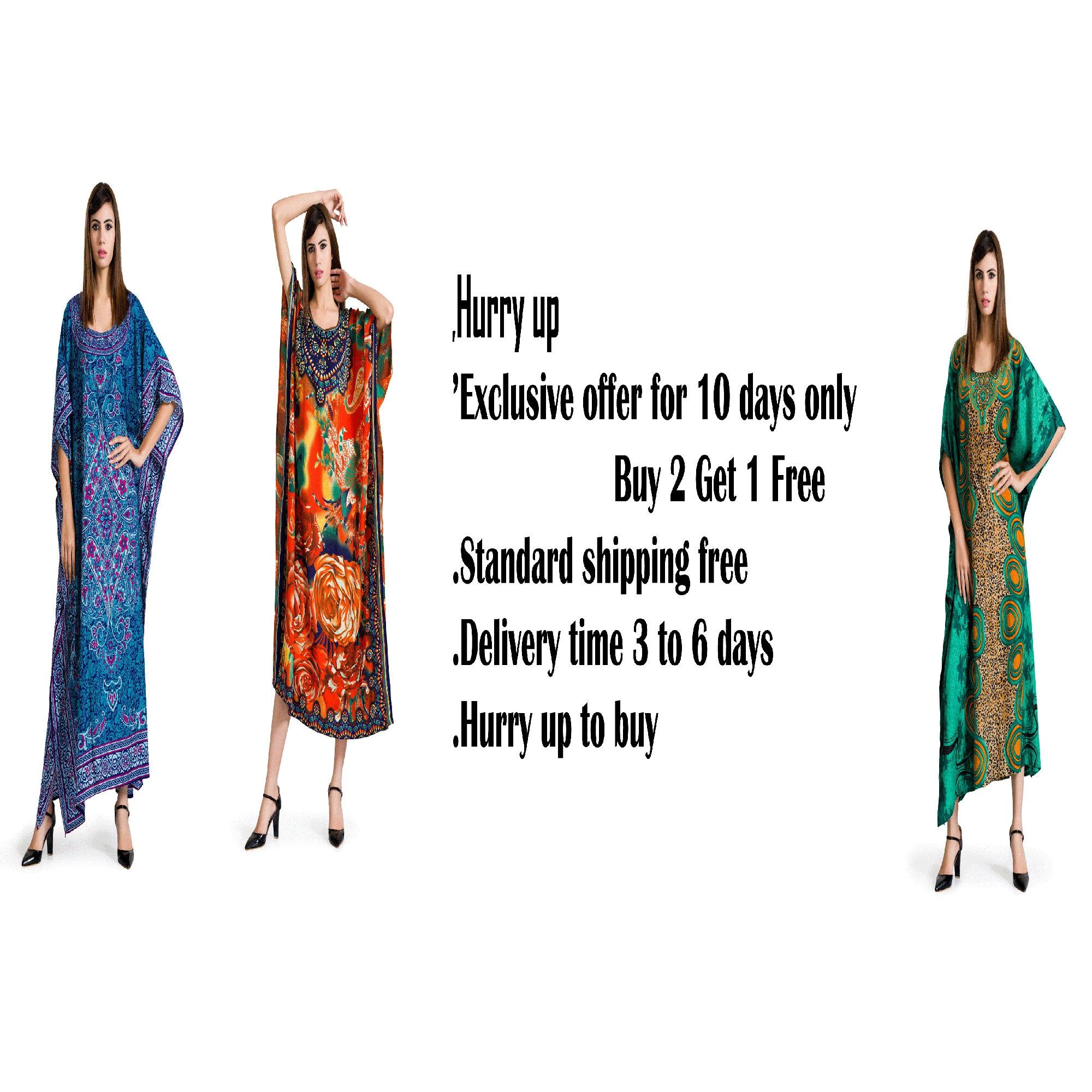 Good Times Women Plus One Free Size Bohemian Blue Red Maxi Tunic Caftan Dress
