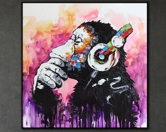 Canvas Wall Art Modern Chimpanzee Headphones