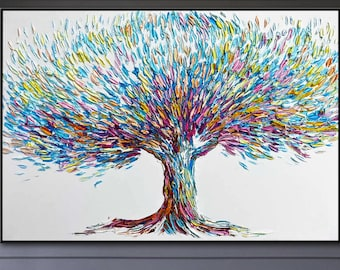 Extra Large Wall Art Tree Painting Abstract Painting Modern Wall Art Oil Paintings On Canvas Original Artwork Living Room Wall Art Canvas