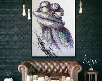 6cfd3639cafd Extra large painting,Large oil painting original,Extra large wall art, Oversized wall art,Large living room wall art,Romantic wall art