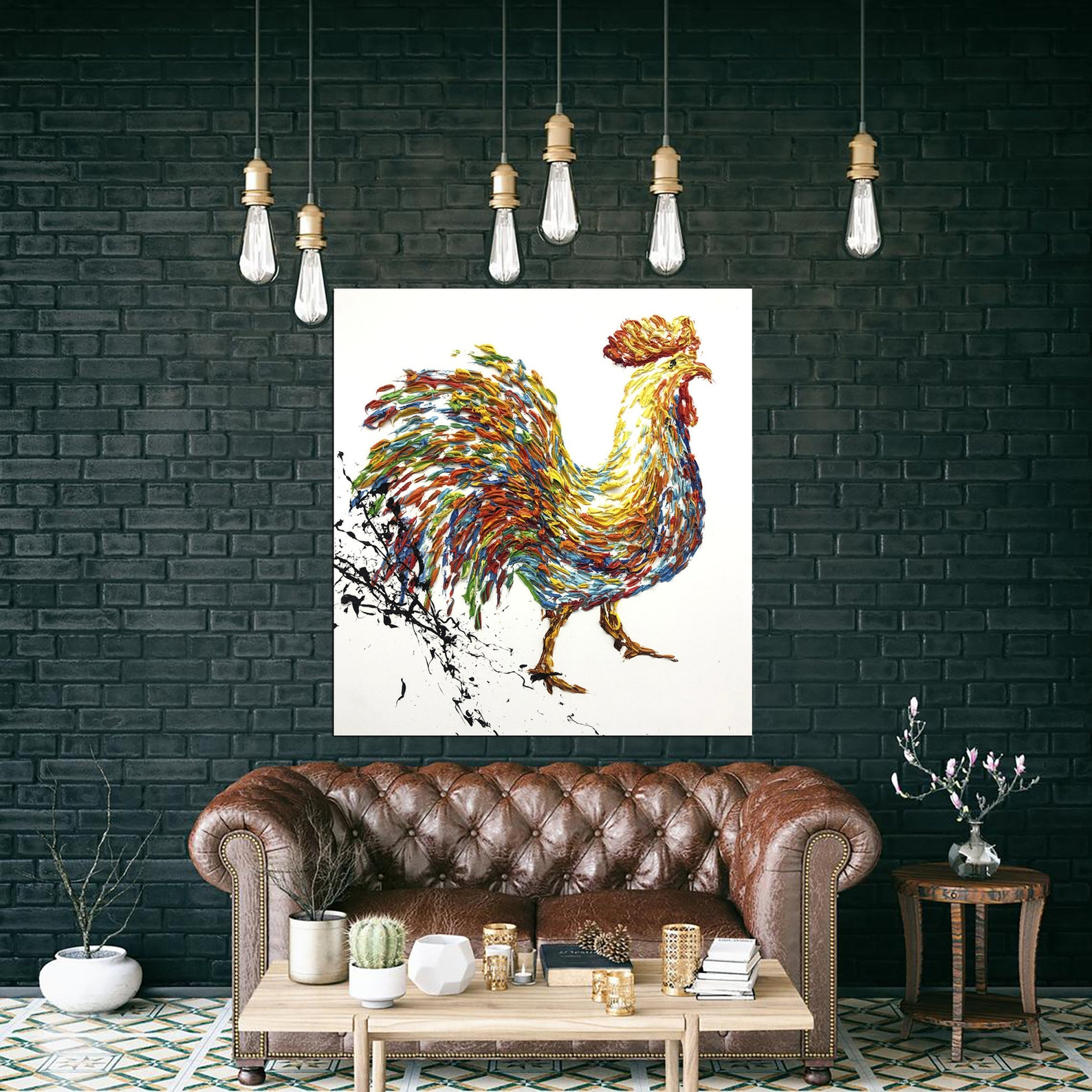 Extra Large Cock Painting Oil Painting on Canvas Original