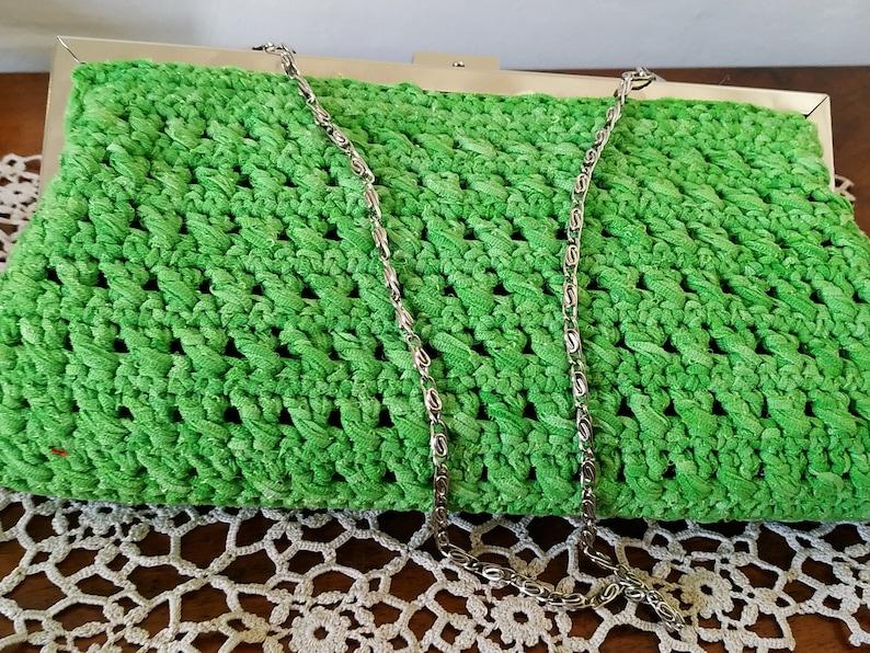acid green with click clac closure Pretty handmade clutch bag crocheted