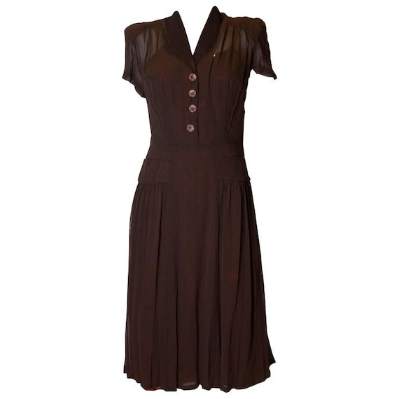 Washed Black 1940s day dress