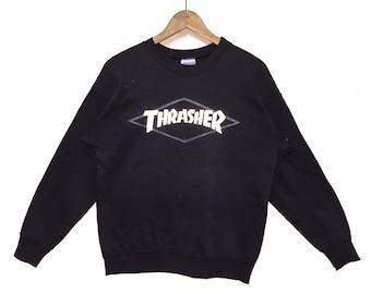 713b238f57de Rare!!! Vintage Thrasher Magazine Sweatshirt Vintage 90s pullover Skate  Skateboard HipHopThrasher Reflective