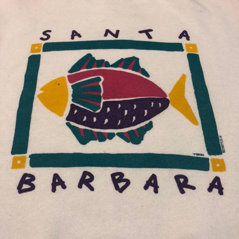 Vintage Santa Barbara Sweatshirt Pullover Crewneck Neon Graphic Usa Made Rare!!