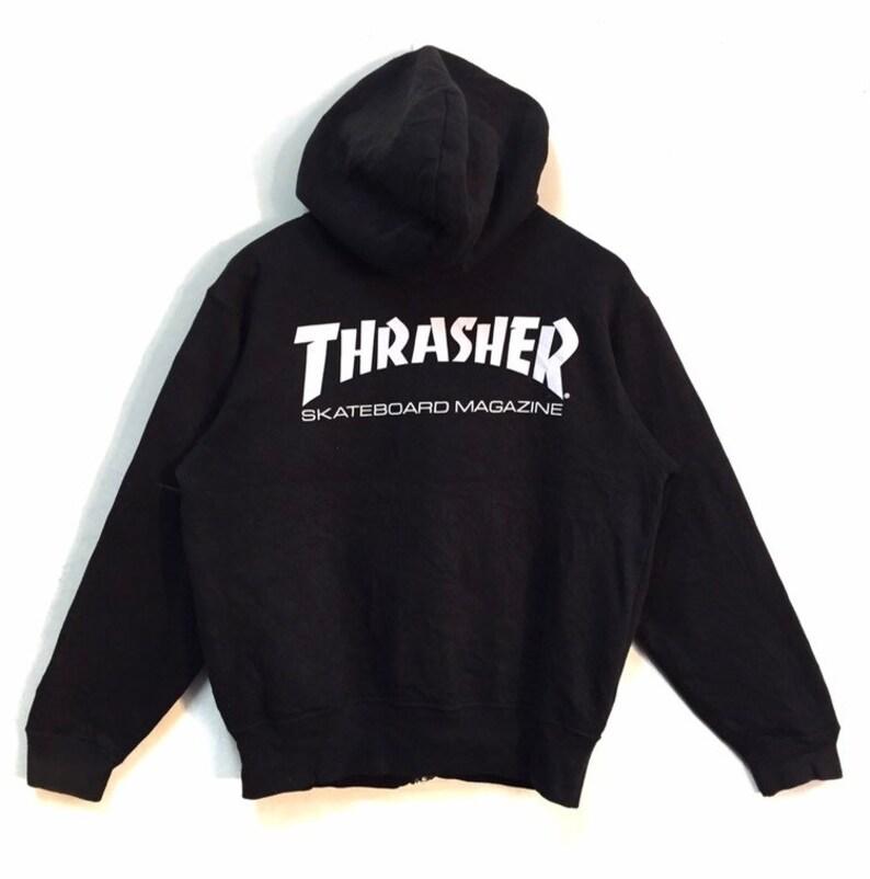 Thrasher Magazine Hoodies Skate Thrasher Skateboard Spellout Full zipper Rare!!