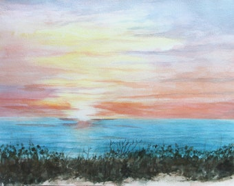 Abstract Painting Original Artwork Watercolor Gouache Wave Sea Sunset Small Watercolor 6 by 8