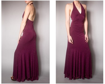 9450ac21 Vintage Retro Maxi Floor Length Dress Burgundy Halter Open Back Glitter  Ruche Gown Saturday Night Fever Disco Party Club Plunging Size S/M/L