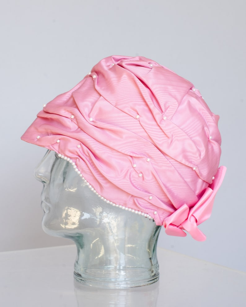 Vintage Vibrant Pink Cloche Hat Original by Dale Pearl Studded Embellished Bow Flapper Kentucky Derby 20s 30s 40s Tea Party