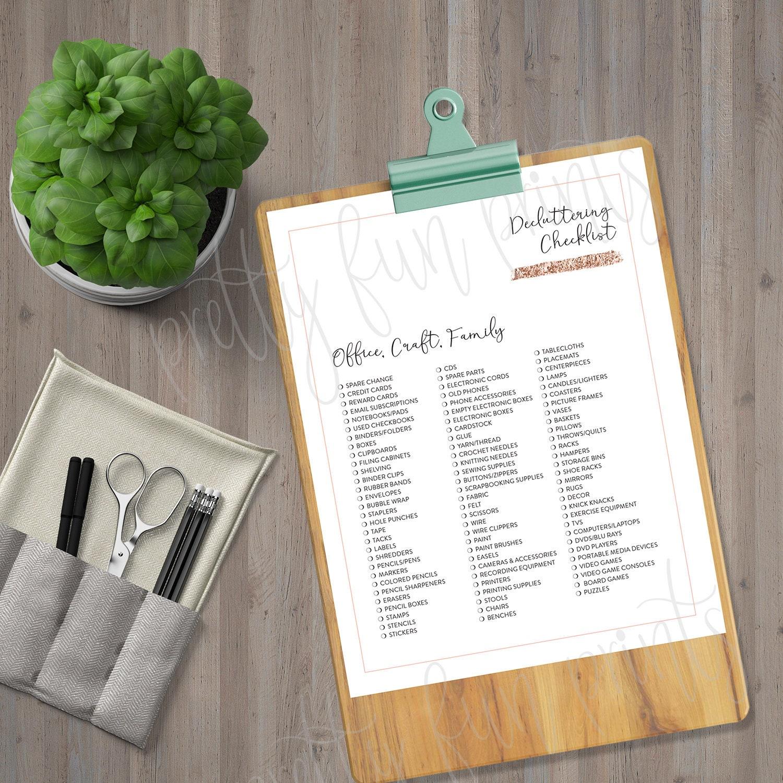 Declutter Printable, KonMari Checklist, Printable Marie Kondo Decluttering  Checklist, KonMari Printables, Marie Kondo Planner, Rose Gold
