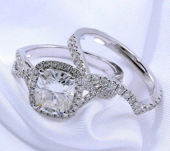 Certified 3.16Ct Blue Round Cut Diamond Engagement Wedding Ring 14K White Gold