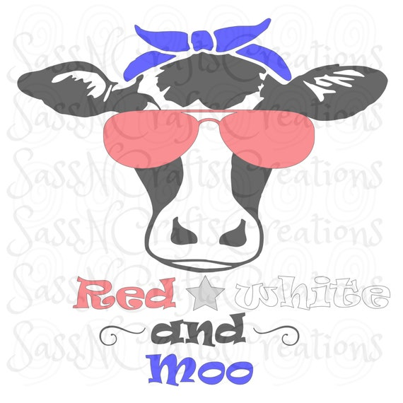 Red White and Moo SVG File for Cricut, SCAL, Scan and Cut, Inkscape, Silhouette
