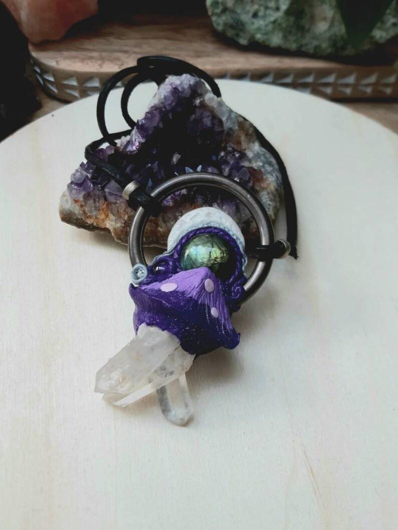 Labradorite crystal necklace moon necklace sculpted Quartz boho Amethyst moon Mushroom necklace hippie clay necklace
