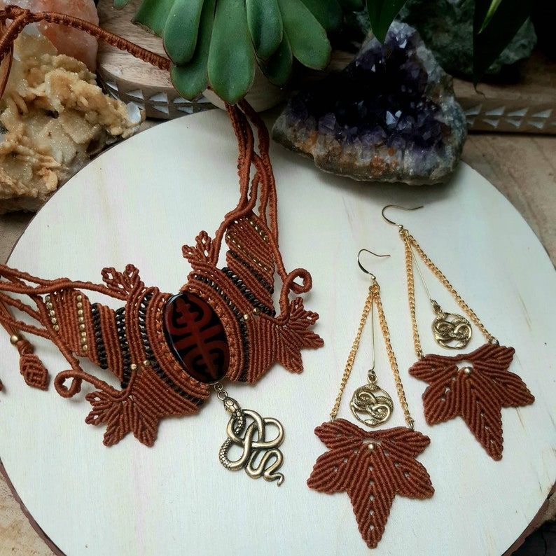 queen goddess jewelry handmade Jewelry leaf mystic goddess ethnic tribal serpent jewelry Macrame jewelry set snake jewelry