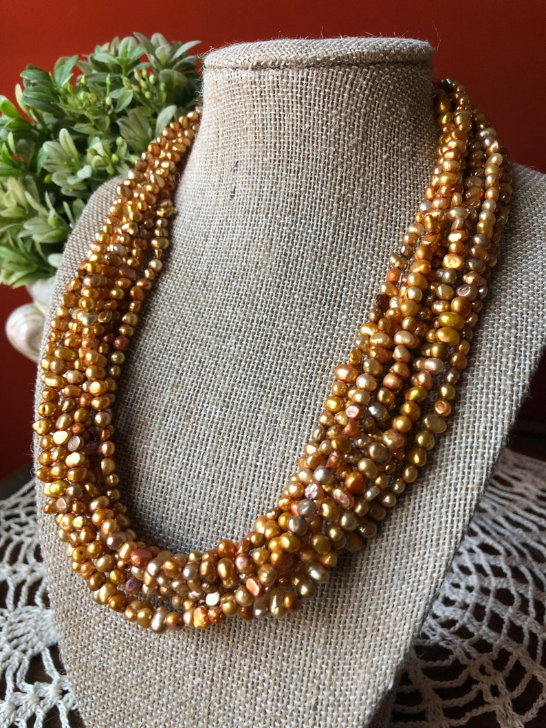 Vintage SILPADA Jewelry ~ Copper Freshwater Pearl Multi-Strand Necklace