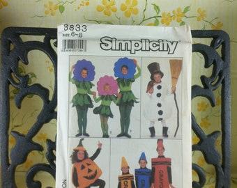 crayons Pumpkin Size 6-8 Simplicity kids costumes 8833 snowman flower