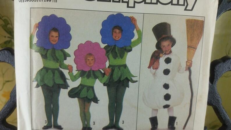 snowman Size 6-8 Simplicity kids costumes 8833 Pumpkin flower crayons