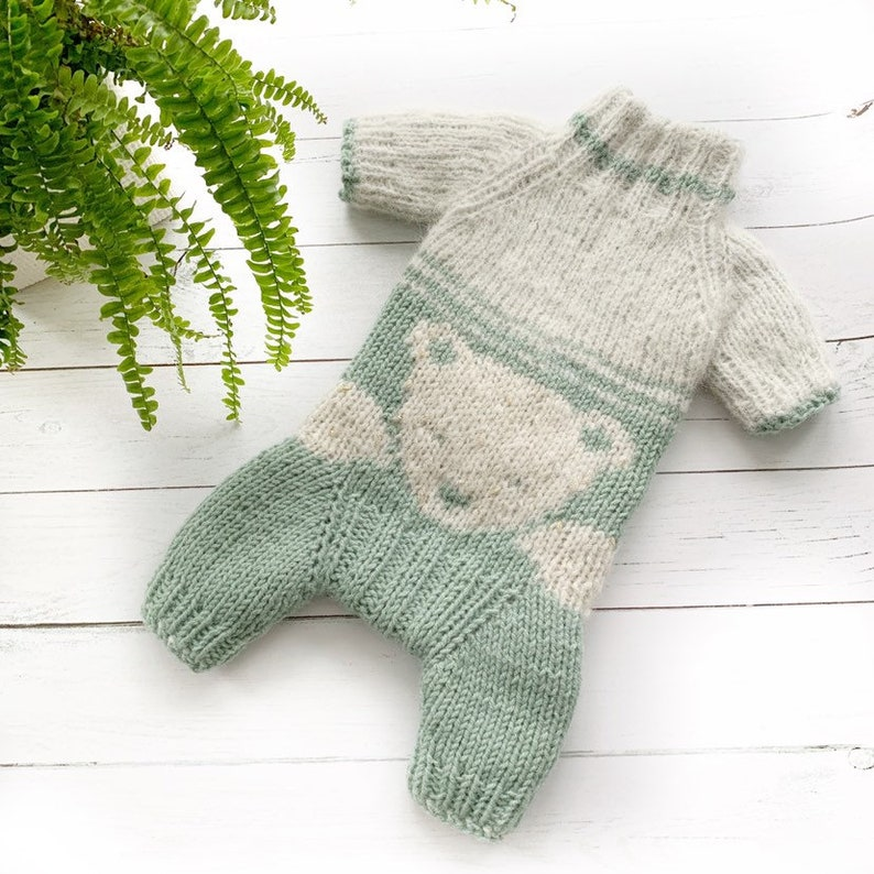 Knit dog coat Knit dog overalls with teddy bear for small and medium dogs Custom dog clothes