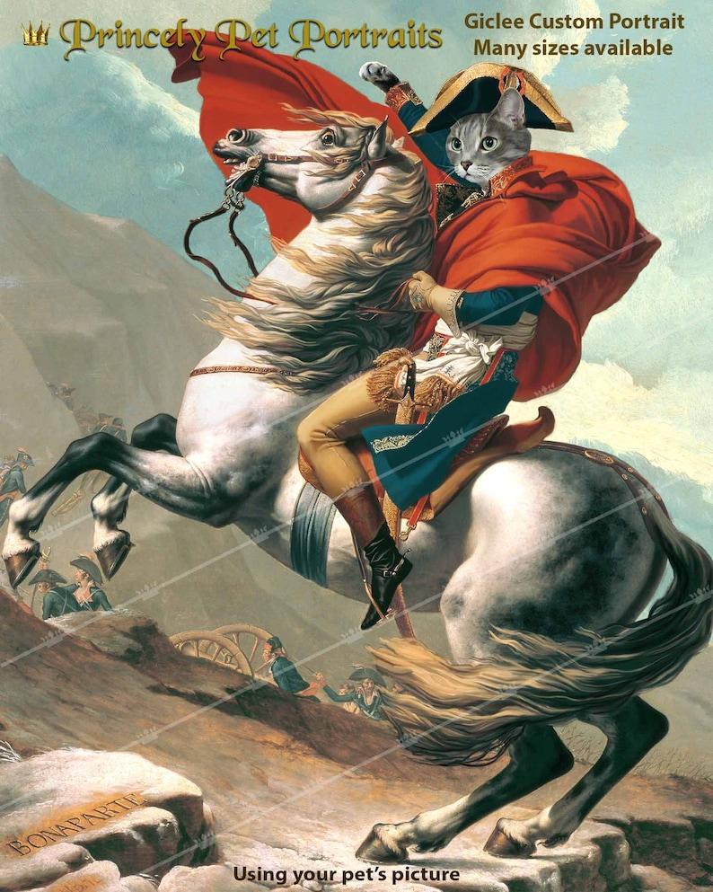 Personalized Pet Portrait French King Napoleon Bonaparte Gift for men Memorial Art Dog Cat horse portrait painting Battle painting