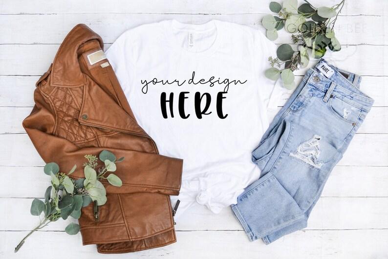 INSTANT DOWNLOAD Bella Canvas 3001 T-Shirt Mockup High Resolution JPG Flat Lay File Jeans Leather Wood Spring Fall Tshirt Mockup jpeg