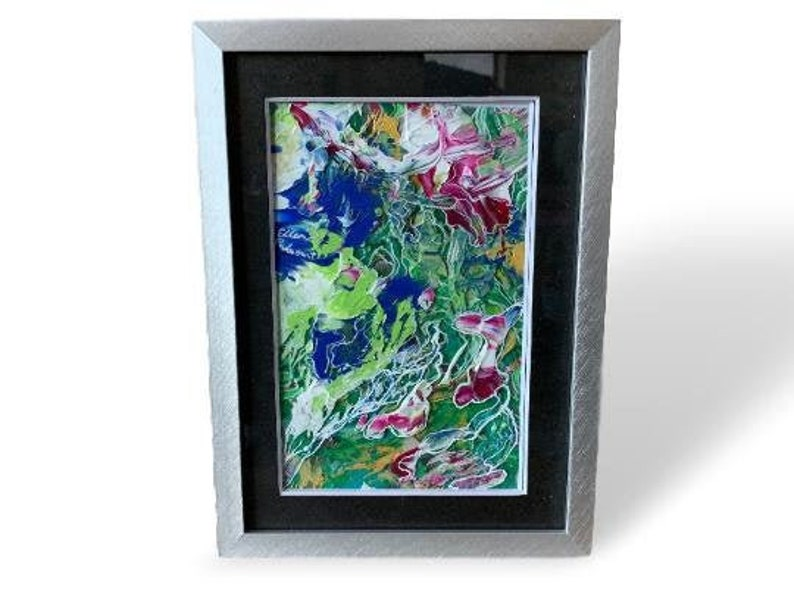 Original art abstract painting of green blue red flower or image 0